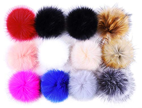 Pom Poms for Hats Bulk Pom Poms Faux Fur Pom Pom Balls for Hats Pompoms for ()