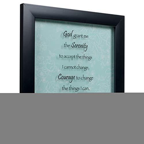 Elanze Designs Serenity Prayer 12 x 12 Black Wood Shadow Box Framed Sign Plaque