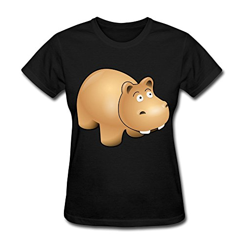 Black Hippo Short Sleeve T Shirt For Lady Size M for $<!---->