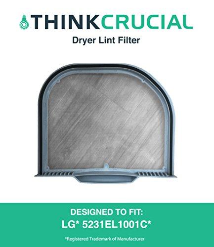 Durable Dryer Lint Filter, Fits LG Dryers DLE4801W, DLEX5101V, DLEX5101W, DLGX5102V, DLGX5102W, RN1317AS, & RV1317TS, Premium Filtration, Part # 5231EL1001C, by Think Crucial