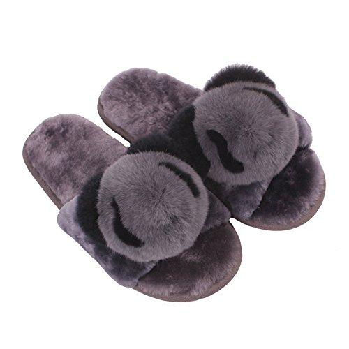 Women Girls Fluffy Slippers Indoor Home Open Toe Soft Slip On Flat Warm Slipper Sandals 80Store Grey Panda vK6EVX