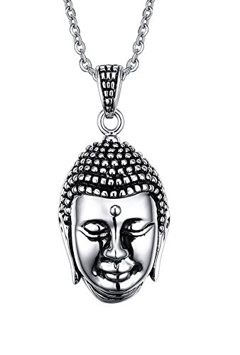 """XUANPAI Mens Vintage Stainless Steel Buddhism Buddha Head Amulet Talisman Pendant Necklace,Free Chain 20"""""""