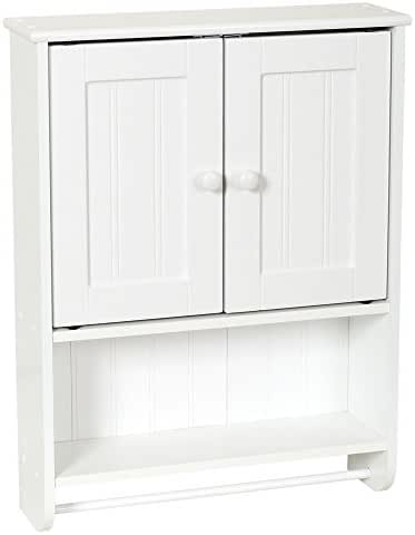 Zenna Home Cottage Bathroom Wall Cabinet, with Towel Bar, White