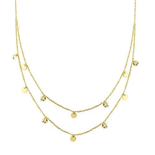 Disc Necklace, 12 Pc Dangle Disc Dbl Strand Bib Adjustable Neck