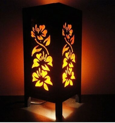 Thai Vintage Handmade ASIAN Oriental Orange Hibiscus Flowers Art Bedside Desk or Table Lamp Shades by Thai Lanna Lump