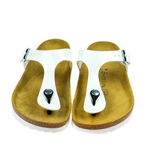 Backsun Damen Sandale Leder Weiß