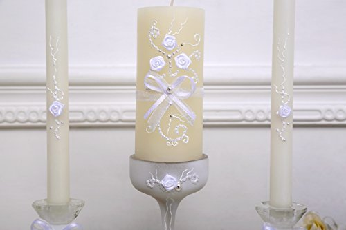 www.Beadingsupplys.com Rustic Chic Wedding Unity Candle Set - 3 Candles and 3 Glass candleholders with Ribbon, lace and Pearls Decoration, Vintage Unity Ceremony by www.Beadingsupplys.com (Image #2)