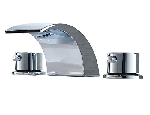 Greenspring Deck Mount Double Handles Led Waterfall Contemporary Widespread Commercial Bathroom Sink Faucet Chrome Finish ()