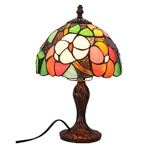 Henley Art Deco – Lampara de mesa creativa Tiffany, pintura de cristal, salon, comedor, dormitorio, lampara de mesita de noche, bar, romantica, vintage, lampara de mesa barroca de 8 pulg