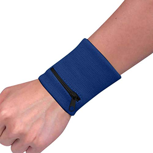 COM1950s Pure Cotton Material Wrist Wallet Pouch Band Zipper Running Travel Cycling Safe Sport Bag Comfortable with Storage Function (Blue, B)
