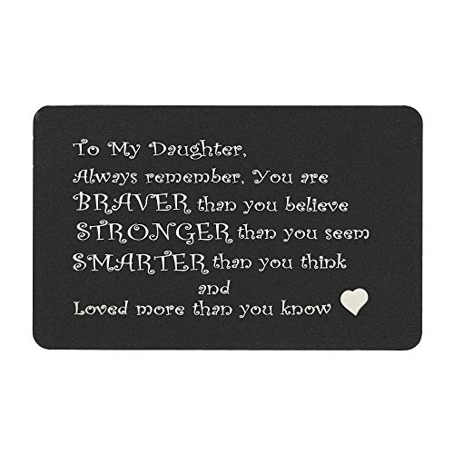(Love To My Daughter Personalized Photo Engraved Metal Wallet Gift Note Card Mini Note Birthday Graduation Sweet 16)