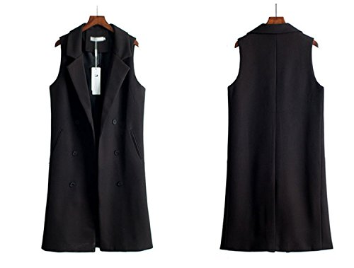 Caseminsto Black Long Vest Women 2017 Fashion Elegant Office Suits Grey M by Caseminsto (Image #3)