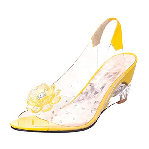 (JJLIKER Women Floarl Rhinestone Clear Flatform Wedge Open Toe Sandals Ankle Strap Slingback Slip-On Heels Shoes Yellow)