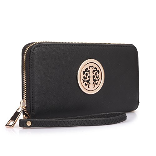 Women Long Wallet Lady Saffiano Leather Wristlet Purse Zipper Organizer Card Cellphone Holder Black by MKY