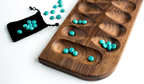 Mancala - Walnut with Teal Glass Gems by Purple Squirrel Games (Directions For Mancala)
