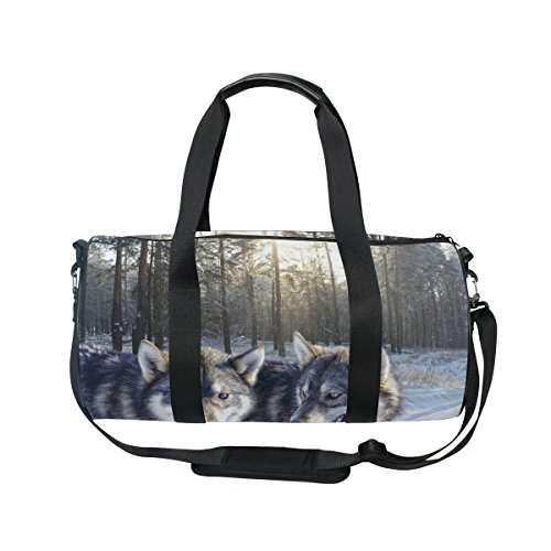 Evolutions Wolf Couple Love Travel Duffel Bag Sports Gym Bag For Men & Women by Evolutions