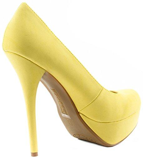 Bamboo Womens Shoes Colada-01N Stillettos Heel Slip On Pumps Lemon Nub RVa47