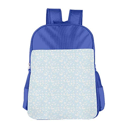 Haixia Kid's Boys&Girls School Backpack Baby Hearts Background with Teddy Bears Strollers Infant Clothes Newborn Child Theme Decorative Pale Blue White -