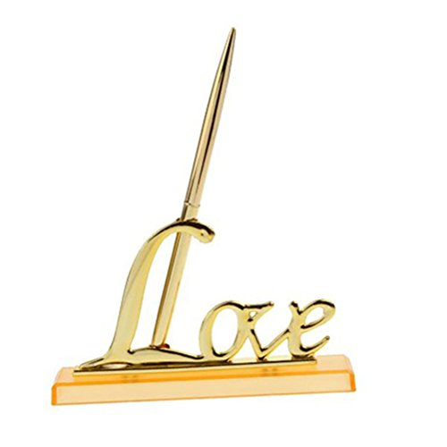 NUOLUX Signing Pen with Metal Love Holder for Wedding Color Gold Total Length 17CM