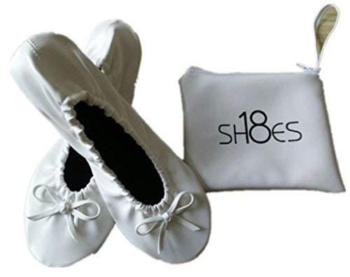 Shoes 18 Women's Foldable Portable Travel Ballet Flat Shoes w/Matching Carrying Case (9/10, White sh18-1) (Bridal Ballet Flats)