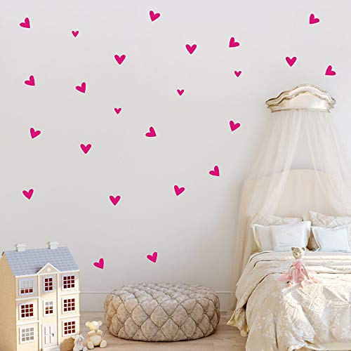 - 24PCS Love Heart Wall Sticker DIY Home Decor Removable Wall Decal PVC Art Mural for Baby Girls Living Room Bedroom Playroom (Hot Pink)
