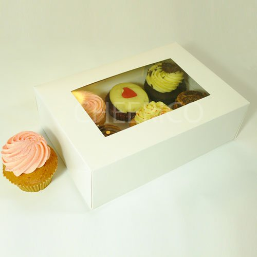25 Counts of Window Cupcake Box with 6 Cupcake Holder($1.40 Per Set/per Box)