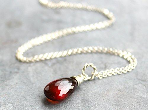 Spessartite Garnet Necklace Cinnamon Red Gemstone Briolette Pendant Necklace, Sterling Silver