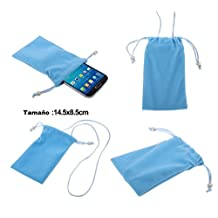 "DFV mobile - Case Cover Soft Cloth Flannel Carry Bag with Chain and Loop Closure for => ASUS ZENFONE GO ZB500KL [5,0""] > Blue"