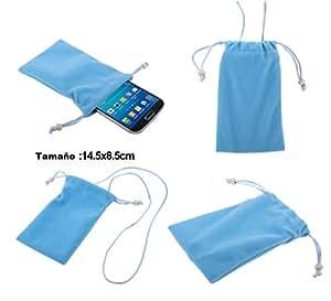 DFV mobile - Funda de Tela en Paño Suave con Cierre por Lazo y Colgante de Cuello para => Micromax A88 > Azul