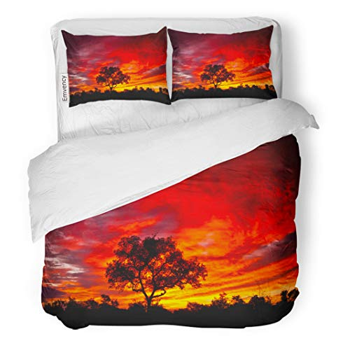 Semtomn Decor Duvet Cover Set Full/Queen Size Colorful African Sunset in The Kruger National Park South 3 Piece Brushed Microfiber Fabric Print Bedding Set Cover -