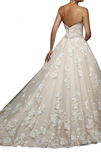 Toscana sposa da sogno principessa sposa benda mode tulle con pizzo alto extra lungo tempo vestimento avorio 44