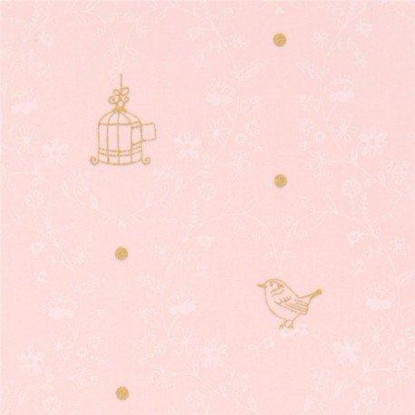 Tela rosa claro flor blanca jaula pájaro lunar dorado brillo Michael Miller  USA  Amazon.es  Hogar 56197e6ced4