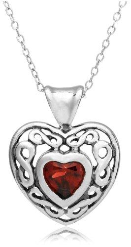 "Sterling Silver Garnet Heart Pendant, 18"""
