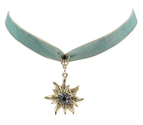 Trachtenschmuck Dirndl Edelweiss Kropfband aus Samt - hellblau blau - mit Light Sapphire und Montana blauen Strasskristallen