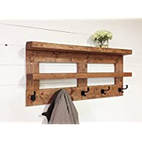 Rustic Wooden Hall Shelf & Coat Rack 36' by Mountain Creek Woodworks (English Chestnut)