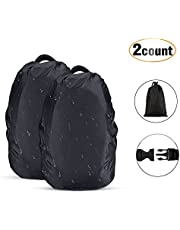 AGPTEK 2-Pack Nylon Waterproof Backpack Rain Cover,Pack Cover, Backpack Waterproof Cover for Hiking/Camping/Traveling/Outdoor Activities, Black,Size XS:10-17L S:18-25L M:26-40L L:41-55L