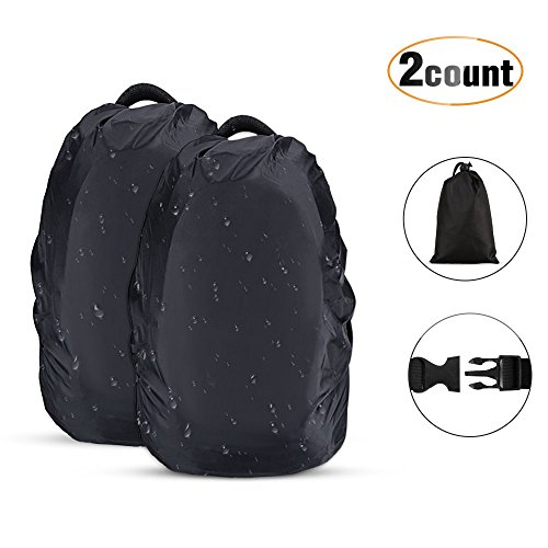 AGPTEK 2-Pack Nylon Waterproof Backpack Rain Cover,Pack Cover, Backpack Waterproof Cover for Hiking/Camping/Traveling/Outdoor Activities, Black,Size L:41-55L