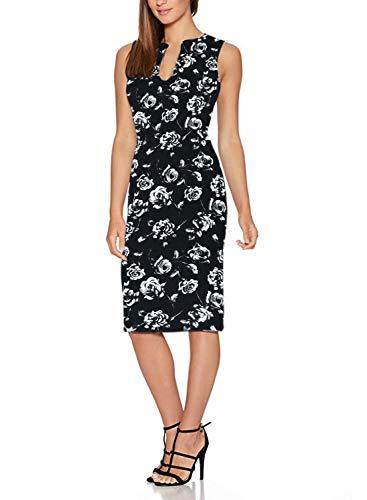Ft601 black Flower Cocktail Floral Deep Sleeveless Dress Pencil Party V Print Fantaist Neck Women's wAPSqZT7