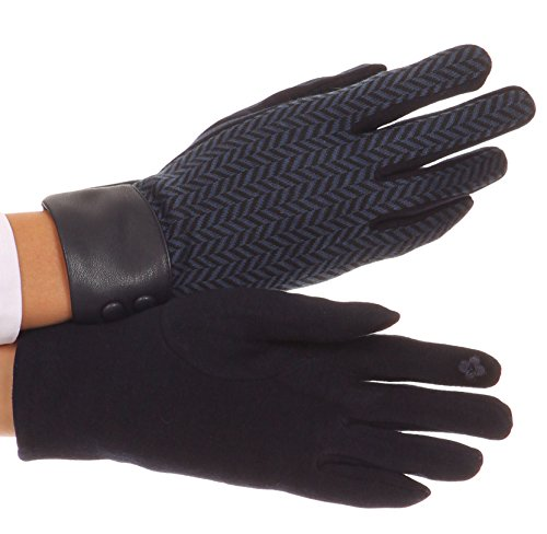 Sakkas CMZ1526 - Bronywn Warm Winter Wrist Length Chevron Pattern Touch Screen Gloves - Navy - M