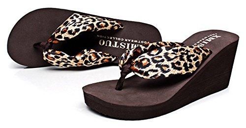 Flop Bohemian Trendy Heel Flip Wedge Sandals Beach Brown Sfnld Summer Womens Platform Thong qtXZwg