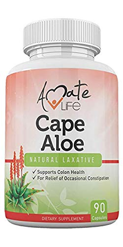(Cape Aloe Natural Laxative Supplement- Constipation Relief- Regulate Bowel - All-Natural Herbal Detox- Weight Loss Dietary Supplement- Digestion Help Dietary Supplement- 90 Caps- non-GMO by Amate)