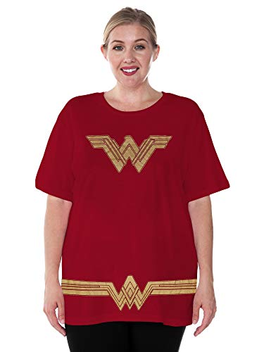 DC Comics Plus Size Womens T-Shirt Wonder Woman Logo Belt Costume (Dark Red, -