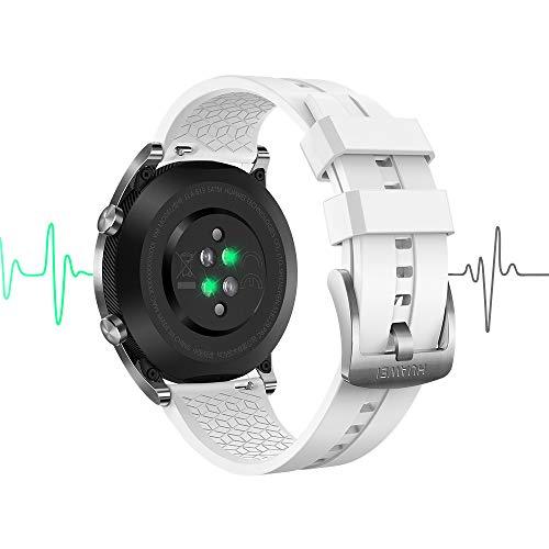 Huawei Watch GT Elegant - Montre Connectée (GPS, Ecran tactile, boitier Inox 42mm) avec Bracelet Blanc