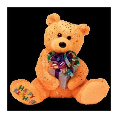 Ty Beanie Babies Happy Birthday the Bear ( Orange - W/ Present ): Toys & Games