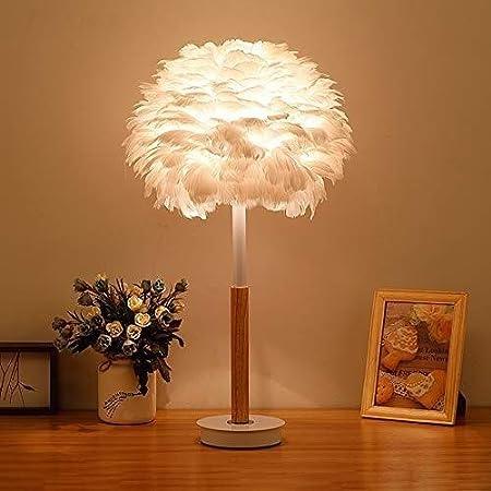 LIANG Lámpara de Plumas, lámpara de Mesa Blanca, lámpara de ...