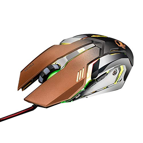 YuanAccessories Computer Mice,4 Colors Breathing LED Wired 6 Buttons High-Speed USB Interface Ergonomic Optical Buttons 3200 DPI Gaming Mouse for PC/Laptop (Color : Gold)