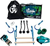 Jungle Highline Kids Obstacle Course | Extreme Ninja Obstacle Course | 7 Obstacles Including Monkey Bars, Swinging Rings, and Monkey Knots Kit | Designed in The USA