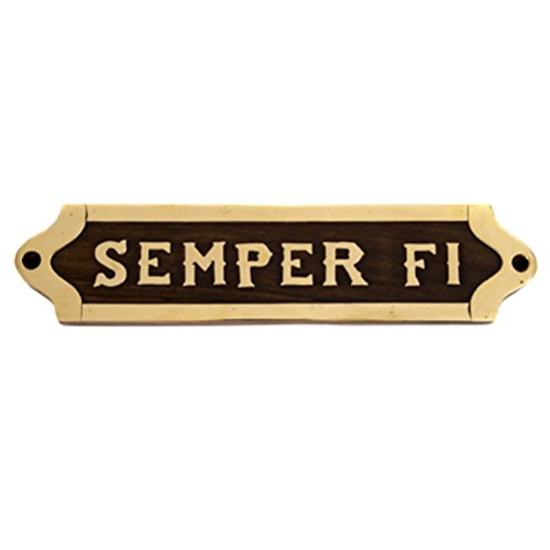 (Wood and Brass SEMPER FI Wall Plaque Sign 9