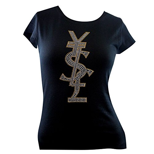 YEN DOLLAR POUND Rhinestone T-Shirts