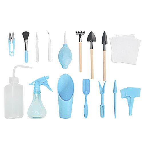 JDgoods 16Piece Garden Tools Set - Garden Gift For Women kids , Mini Garden Tools Set with Scissors, Straight & curved Tweezers, Blowing Bottle, Spray bottle, Bottom Net, Label, Shovel, etc (Sky Blue)
